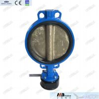 Cast iron wafer butterfly valve with bronze disc