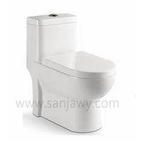 Ceramic material washdown flush method one-piece hotel style wc toilet