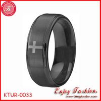Black CrossTungsten Ring, Two Tone Black Plated Ring, Wedding Ring, Tungsten Ring Wholesale