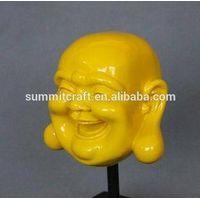 High glossy laughing buddha head statue pop art craft style