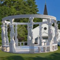 stone gazebo with columns lady statues, garden stone gazebo with pillars for outdoor decoration