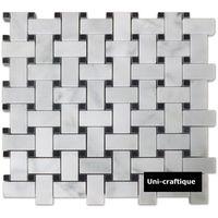 Basket weave marble mosaic tiles
