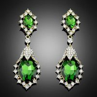 2014 Europe brand Trend Crystal fashion statement green Earrings for women jewelry Bc017 thumbnail image