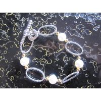 Sterling Silver Jewelry Silver Chain Bracelet with Pearl (B-077) thumbnail image