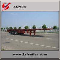 3 Axles 40ft Flat bed Trailer With Tool Box , Container Loading Semitrailer
