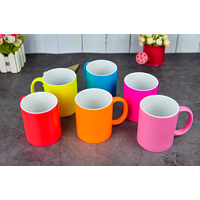 hot selling neon color ceramic cups stoneware sublimation mugs