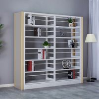 Modern Office Furniture Double Sided Metal Library Book Shelf