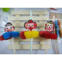 red face clown drinking straw