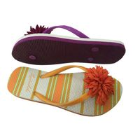 Women Rubber / PE Beach Walking Flip Flops Summer Flower Slippers For Ladies