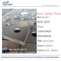 connector -Flat and Square Anchor Plate/ anchor threaded plate used for full thread bar and Concrete