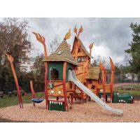 Wooden house themed Outdoor Playground Kids Outdoor Play Structure thumbnail image