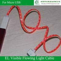 EL Visible Flowing Light Data/Charging Cable for cellphone, Available in red,Blue, Green and Purple thumbnail image