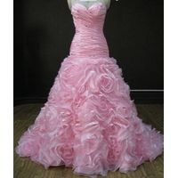 Dropped wasitline pink beads sweetheart wedding dress