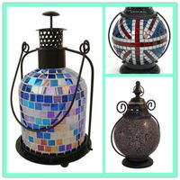 Garden Use Rustic Candle Garden Mosaic Glass Metal Lanterns