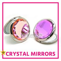 Cheap Decorative Personal Care Crystal Round Compact Make Up Mirror