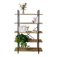Modern 4-Tier Wood and Metal Bookshelves, Industrial Style Bookcases thumbnail image