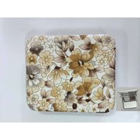 PU Brown Flowers Printing Cosmetic Mirror LFM6233