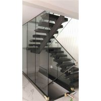Mono Wood Staircase With Steel Glass Railing thumbnail image