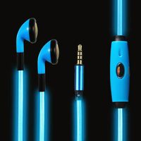 3.5mm Visible EL Cold Blue Light Twinkle with Music Rhythm In-ear Stereo Earphones for iPhone -106cm