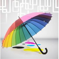 Niello 24K Straight Rainbow Umbrella with J handle,Promotional umbrella