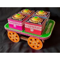 Wooden Painted 4 Compartments Serving Cart Trolley Tray Thela Dry Fruit Box thumbnail image