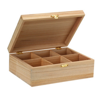 Unfinished cheap wooden tea box with divider