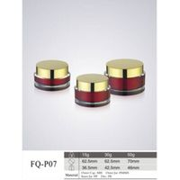 Red double wall acrylic cream jar with plated cap