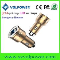 2017 new products W06 LCD display Dual port QC3.0 car charger with Emergency hammer thumbnail image