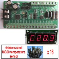 16 way 18B20 RS485 RS232 TTL Modbus Temperature Board WITH LED Meter