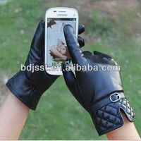 ladies fashion winter wear touch screen leather gloves