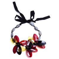 Ms imitation stone crystal acrylic flower anniversary necklace Handmade charm and colorful collar