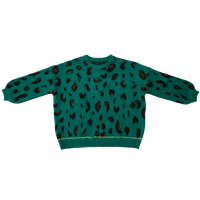 2021ss New Arrival Lazy Style Green Leopard Print Round Neck Lantern Sleeve Loose Silhouette Pullove thumbnail image