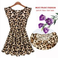 Manufacturer Selling Leopard Dress 2015 Summer Sandbeach Casual O-neck Party Women Dress thumbnail image