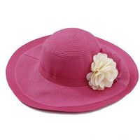 Red Straw Hat Summer Sun Paper Hat For Women thumbnail image