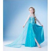 2014 new fashion blue kid dress frozen Snow Romance