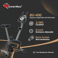 PowerMax Fitness B-400 Magnetic Upright Bike with iPad holder