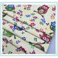 low MOQ owl printed linen cotton fabric for cushion , sofa , curtain