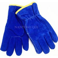 Blue cow split leather driving gloves thumbnail image
