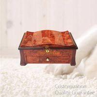 Luxury Women Gift Burlwood Wooden Jewelry Storage Chest Box with Lock and key