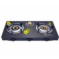 Durable Printing Glass Table Gas Stove Cooktops Three burner