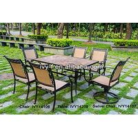 outdoor furniture 6-seating rectangular dining table and chair set in cast aluminum frame sling fabr