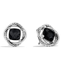 Women Fashion Sterling 925 Silver 7mm Infinity Earrings with Black Onxy thumbnail image