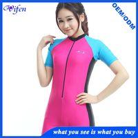 girl pink swim suit swimsuits lycra swimwear rashguard short one piece type online wholesale