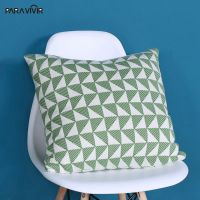 Pillow Case Woven Knitted Decorative Pillows Cover Geometric Square Warm Cushion Cover Home Decor