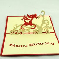 Cat love 3D pop up greeting card