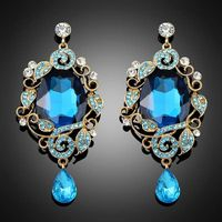 Latest Fashion Design Jewelry Blue Big Simitulated Crystal dangle Drop Earrings For Women Bc016 thumbnail image