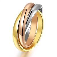 Titanium Stainless Steel 3mm Sigle Girl Women Finger Rings Creative 3 Colors HOT