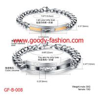laser couple stainless steel bracelet