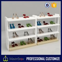 2017 Modern new design shoe display floor wooden shoe display rack