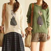 Cute cartoon knitting sweater for girls. thumbnail image